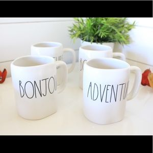 Set of 2 Rae Dunn mugs BONJOUR & ADVENTURE